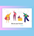 children in superhero costume play landing page vector image