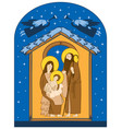 Christmas nativity scene holy family and angels