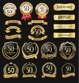 collection anniversary golden logotype vector image vector image