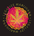 creative banner with a cannabis leaf in a pizza vector image vector image