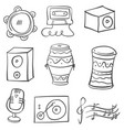 doodle music tool various collection vector image vector image