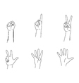 doodles of hands making the numbers 0-5 vector image vector image
