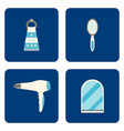 flat bathroom icons set on blue background vector image vector image