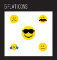 flat icon face set of sad cold sweat happy and vector image vector image