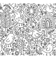 floral seamless pattern with trees and birds vector image vector image
