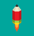 Flying pencil with rocket fire vector image vector image
