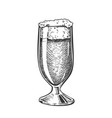 hand drawn classical glass with foam beer vector image