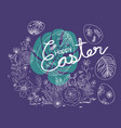 happy easter design flowers and rabbit vector image vector image