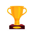large golden cup on brown base shiny prize for vector image