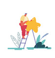 man leaving five star rating people character vector image vector image