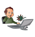 man scared by looking at computer virus vector image