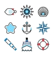 Marine sea icons set vector image vector image
