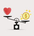 money weights over the heart scales vector image vector image