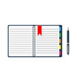 notepad and paper sheets with bookmarks and pen vector image vector image