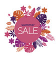 pink and orange tropical leaves summer sale banner vector image