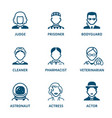 profession icons - set iii vector image vector image