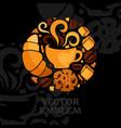 restaurant emblem round design element vector image vector image