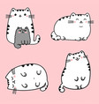 set of four kawaii cute fat vector image