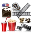 set of objects for cinematography clapperfilm vector image vector image
