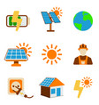 set of solar energy icon energy label for web on vector image