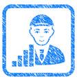 stock trader framed stamp vector image vector image