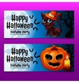 Two horizontal fun cards with cat and pumpkin vector image vector image