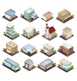 urban architecture isometric icons vector image vector image