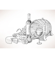 Wine cheese and figs vector image