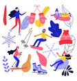 winter sport and active leisure set with people vector image vector image