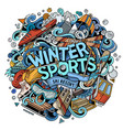 winter sports hand drawn cartoon doodles vector image vector image