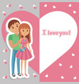 young couple lettering i love you vector image