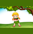 young girl holding apples vector image