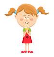 happy cute little girl eating ice cream vector image