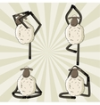 Yoga sheep standing in different poses vector image