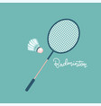 badminton racket and shuttlecocks icon in flat vector image