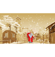 cartoon Father Frost with gift bag walks vector image vector image