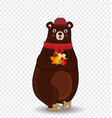 cute autumn bear in red knitted scarf and hat vector image