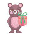 cute bear with gift merry christmas card vector image