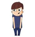 cute cartoon boy with paranoid emotions vector image vector image