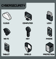 cybersecurity color outline isometric icons vector image vector image