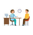 doctor therapist takes patient works with card vector image