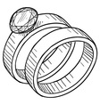 doodle wedding rings vector image vector image