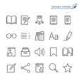 e-book reader line icons editable stroke vector image