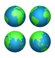 earth 3d globe world map with green continents vector image vector image