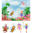 fairy in nature background vector image