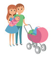 family with baby in stroller mother and father vector image vector image