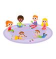 flat boys and girls lying at carpet vector image vector image