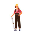 friendly woman architect holding constructing vector image vector image