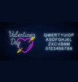 glowing neon alphabet and sign of valentines day vector image vector image