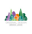 green logo original design park and city buidings vector image vector image